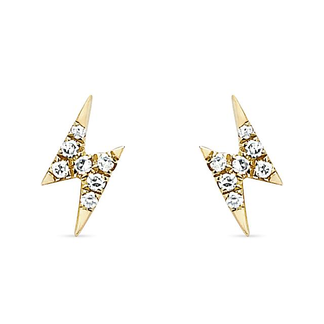 gold il earrings listing stud studs tiny cz hk bolt lightning en