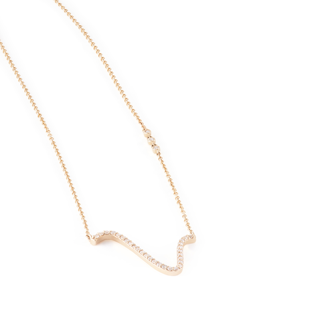 Swoonery-Curved Diamond Pave Necklace