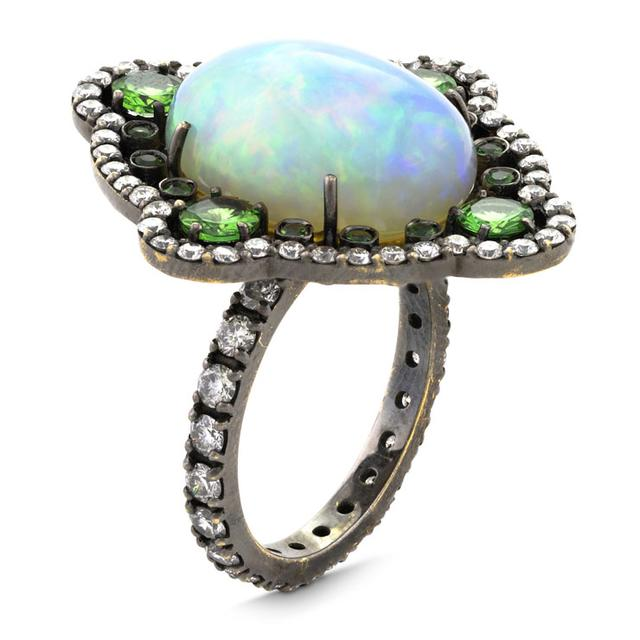 Swoonery-WHITE OPAL AND TSAVORITE COCKTAIL RING
