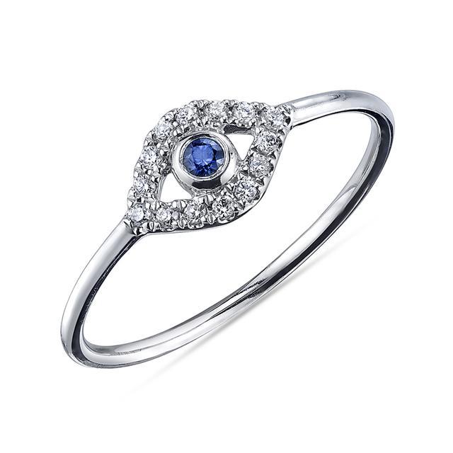 Swoonery-Pave Large Bezel Evil Eye Ring
