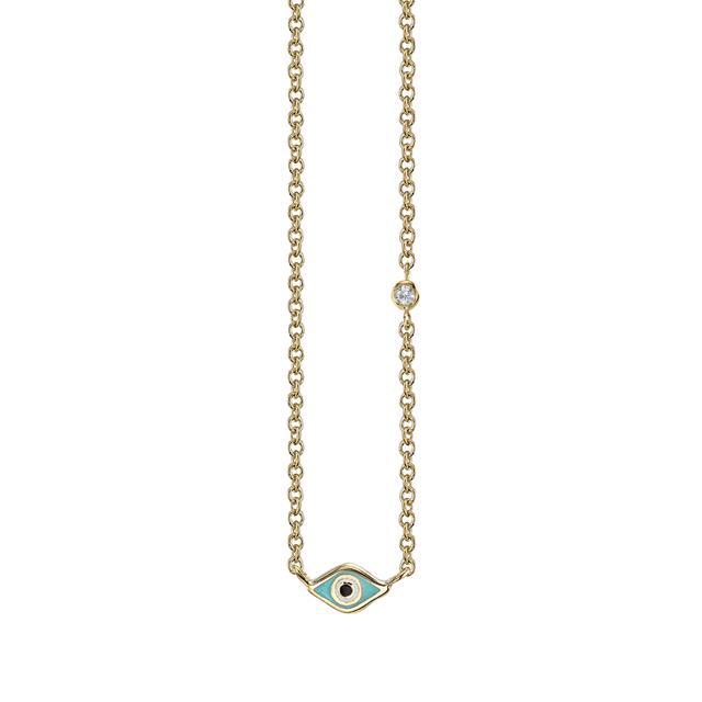 Swoonery-Mini Enamel Evil Eye Necklace