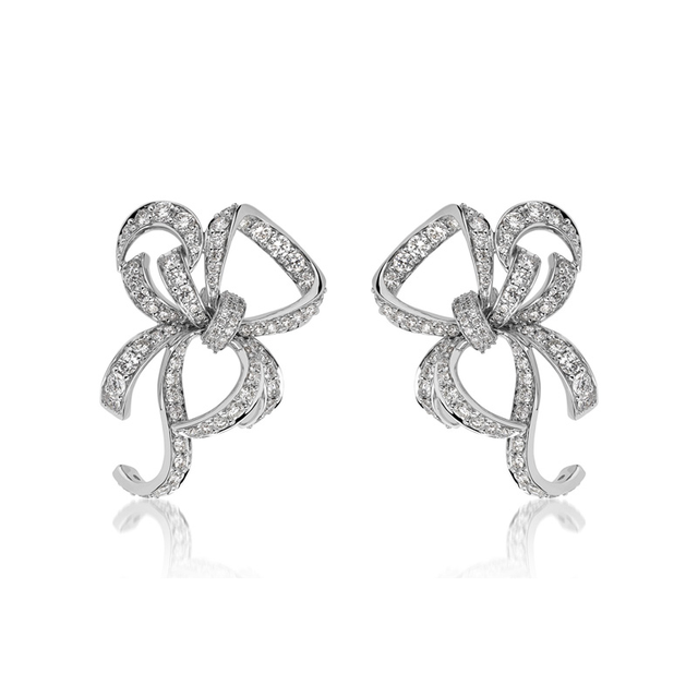 Swoonery-White Gold Lovely Bow Earrings