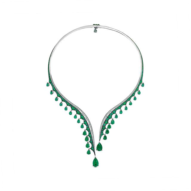 Swoonery-Legends Of Africa Dido Necklace In Diamonds And Emeralds