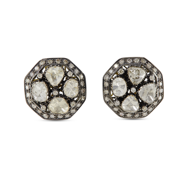 Swoonery-Gold and Silver Diamond Earrings