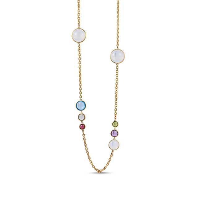 Swoonery-Mischief Collection Disc Oval Necklace With Quartz, Topaz & Garnet