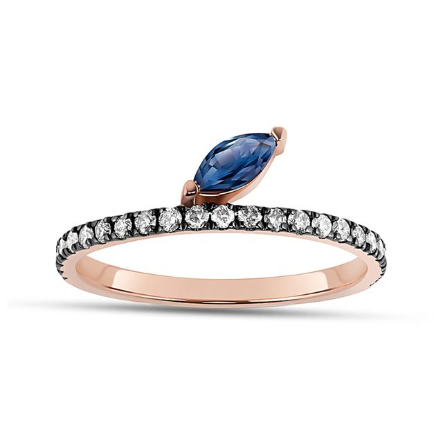 Swoonery-Sapphire Marquise Defne Pave Ring