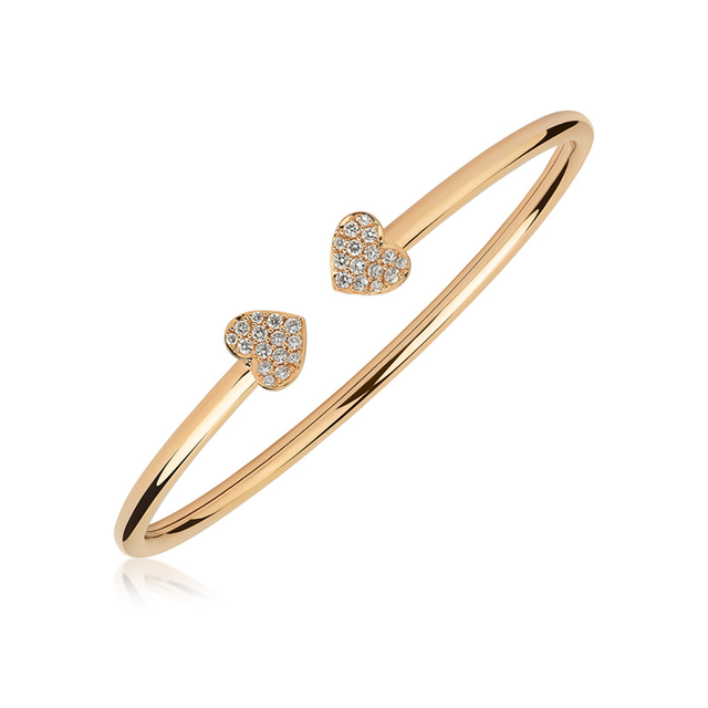 Swoonery-Rose Gold Heart Bangle