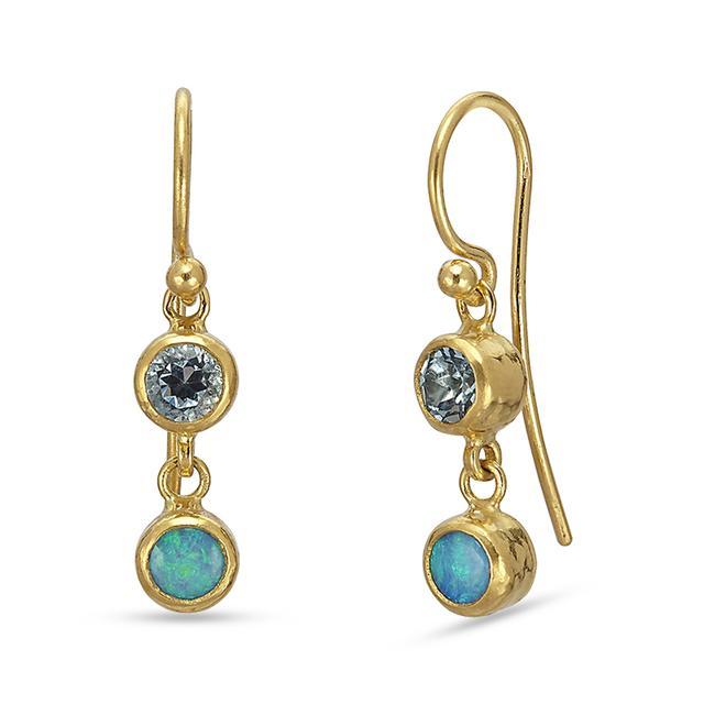 Swoonery-Rainbow Hue Aquamarine and Opal Double Drop Earrings