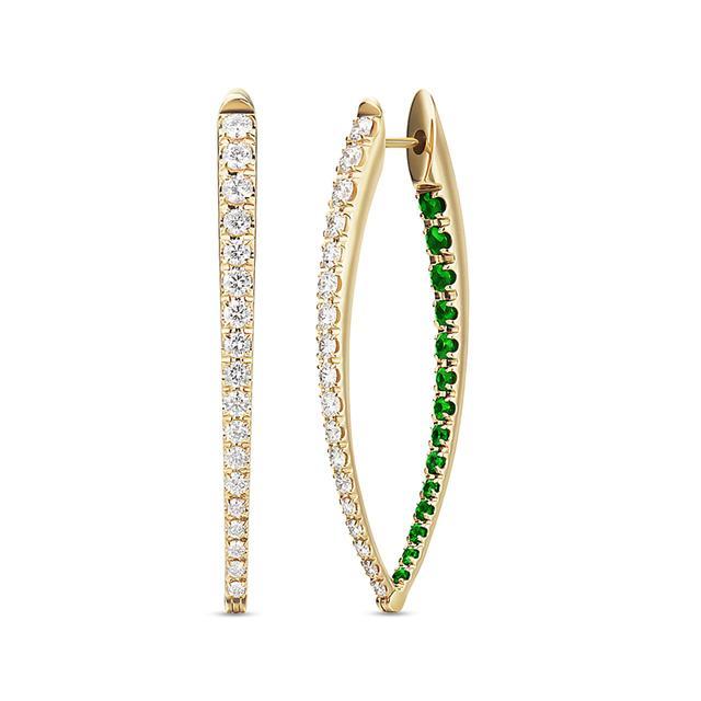 Swoonery-Diamond and Tsavorite Large Cristina Earrings