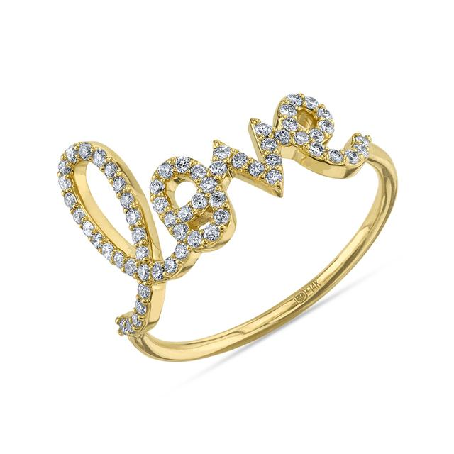 Swoonery-Large Love Script Ring