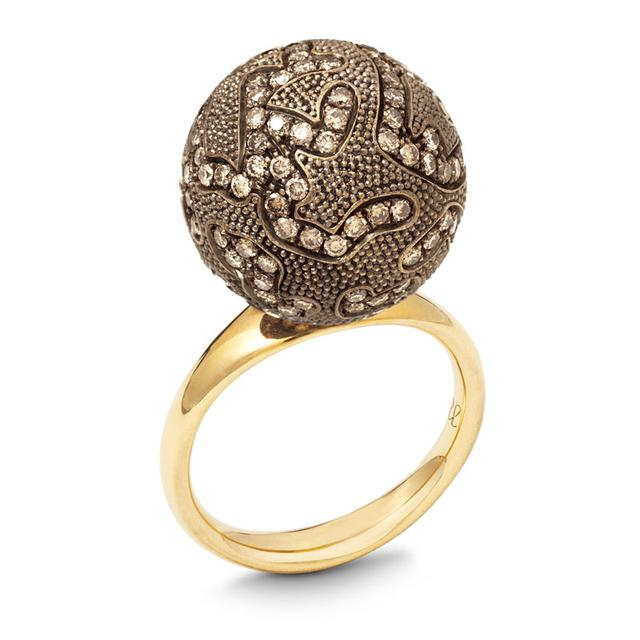 Swoonery-LARGE BROWN DIAMOND BALL RING