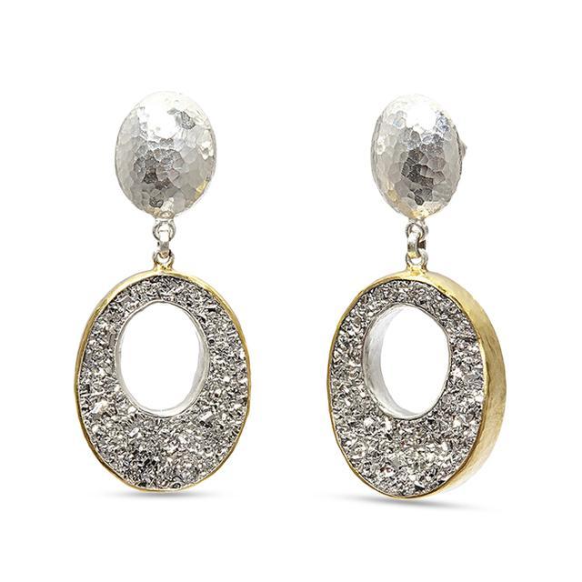Swoonery-Mystere Open Oval Drusy Drop Sterling Silver Post Earrings