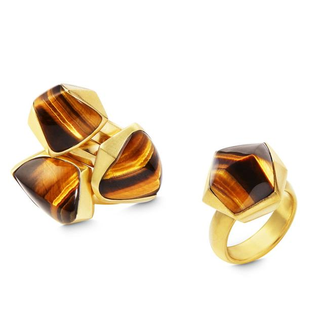Swoonery-PYRAMID TIGER'S EYE STACKED RING