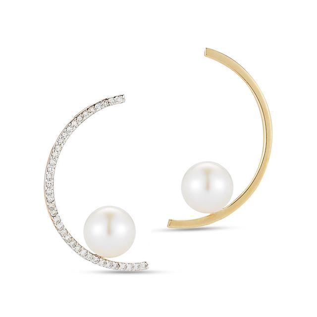 Swoonery-Diamond & 14K Gold Half Moon Pearl Earring Pair