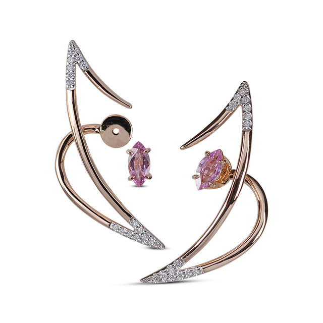 Swoonery-Le Phoenix Zeal I Pink Sapphire and Diamond Earrings