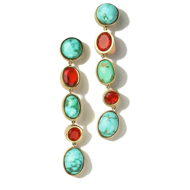 Swoonery-Turquoise and Fire Opal Earrings