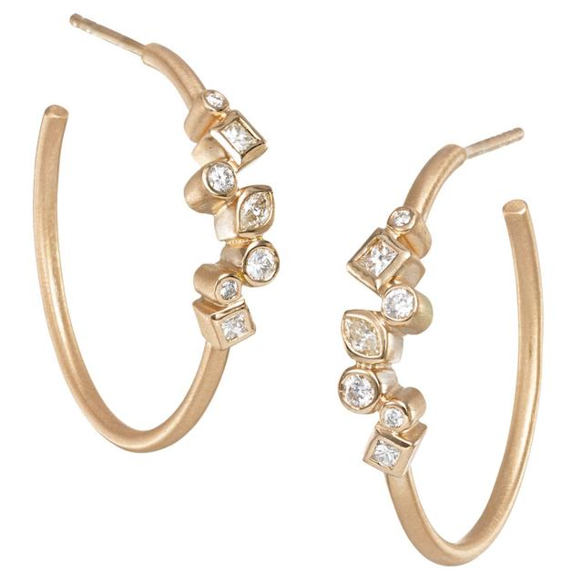 Swoonery-THROWING STONES SMALL HOOPS