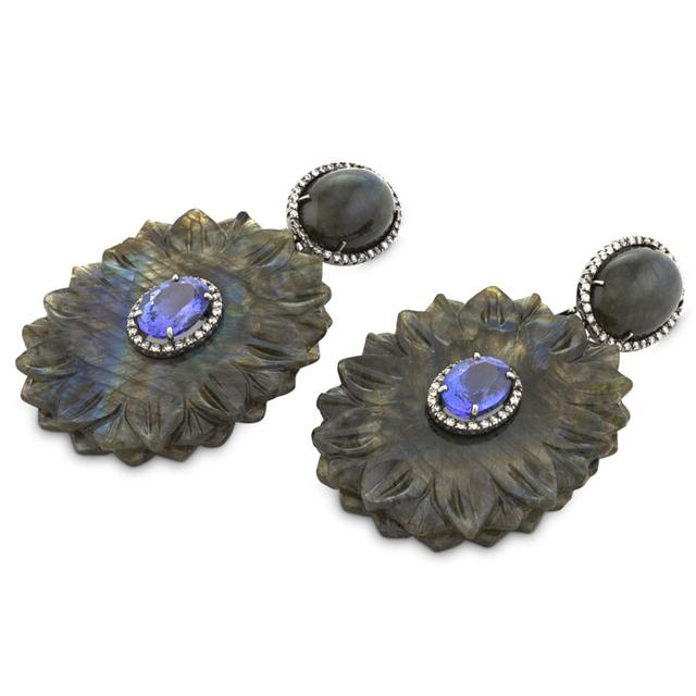 Swoonery-TANZANITE AND CARVED LABRADORITE CHANDELIER EARRINGS