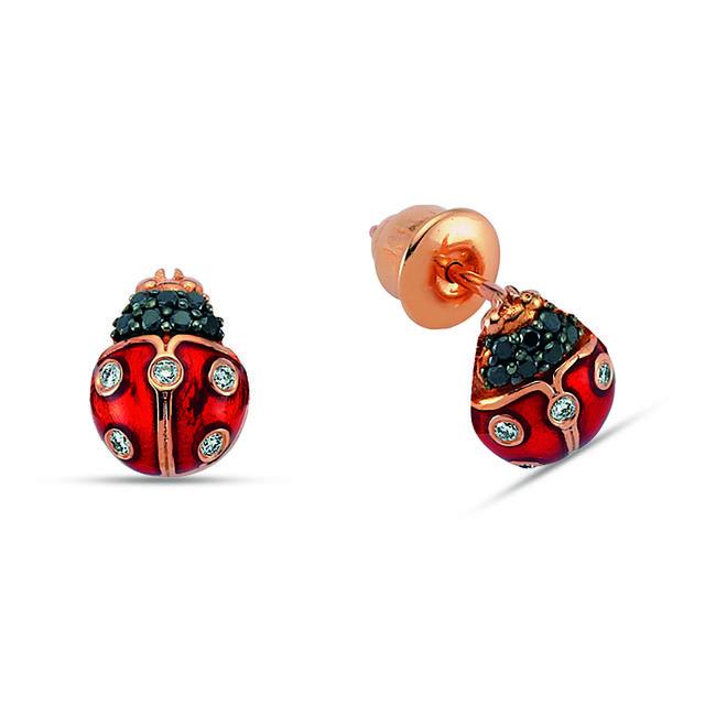 Swoonery-Secret Garden Ladybug Earrings