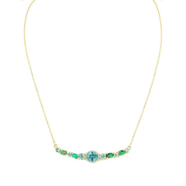 Swoonery-Blue Zircon and Apatite Stoned Bar Necklace