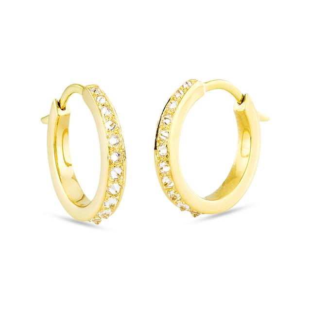Swoonery-Small Inverted Diamonds Mini Hoops