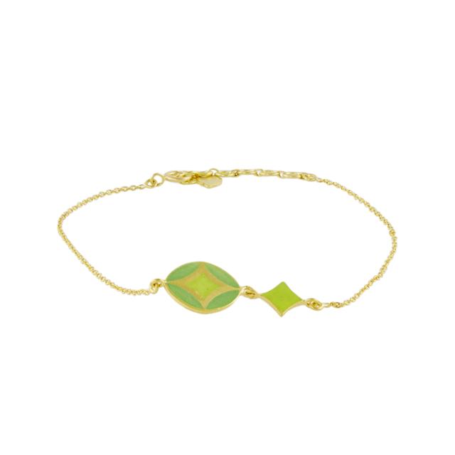 Swoonery-Green And Yellow Holi Enamel Bracelet