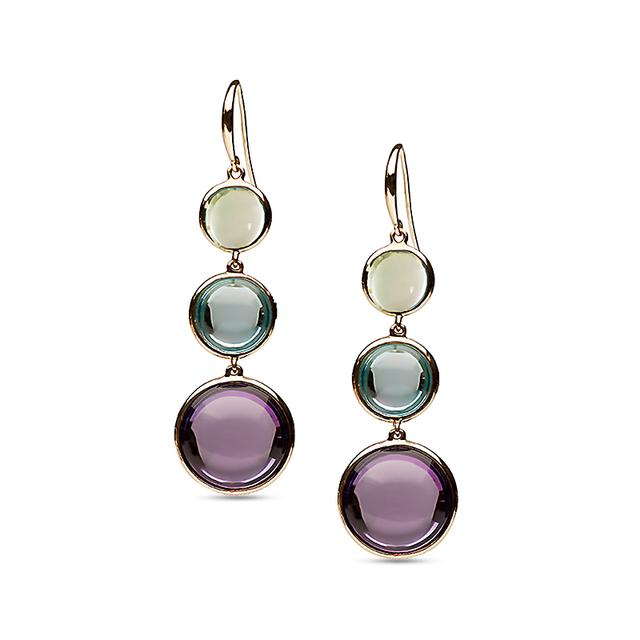 Swoonery-Mischief Collection Disc Earrings With Amethyst, Topaz & Prasiolite