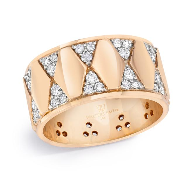 Swoonery-Quentin 10mm Wide Diamond Cigar Band