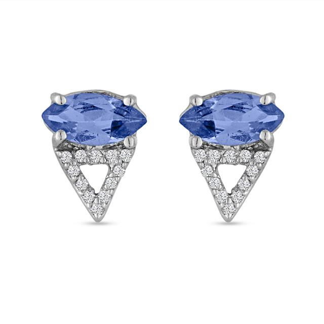 Swoonery-Marquise Tanzanite and Diamond Triangle Stud Earring