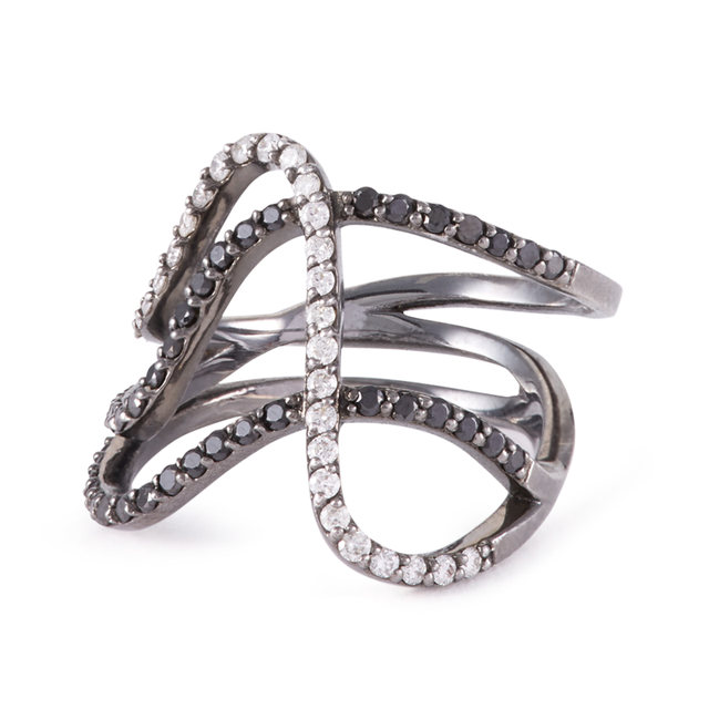 Swoonery-Black and White Row Ring