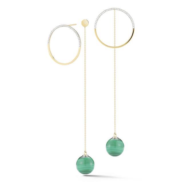 Swoonery-Half Moon Diamond hoop with Malacahite Drop