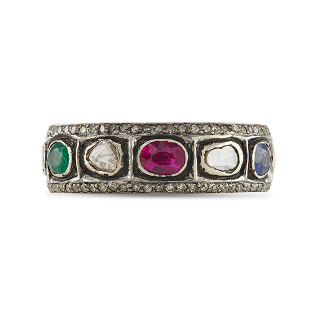 Swoonery-Gold and Silver Diamond, Ruby, Emerald and Sapphire Ring