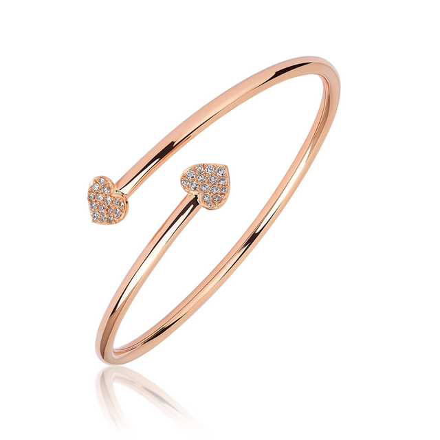 Swoonery-Rose Gold Cross Over Heart Bangle