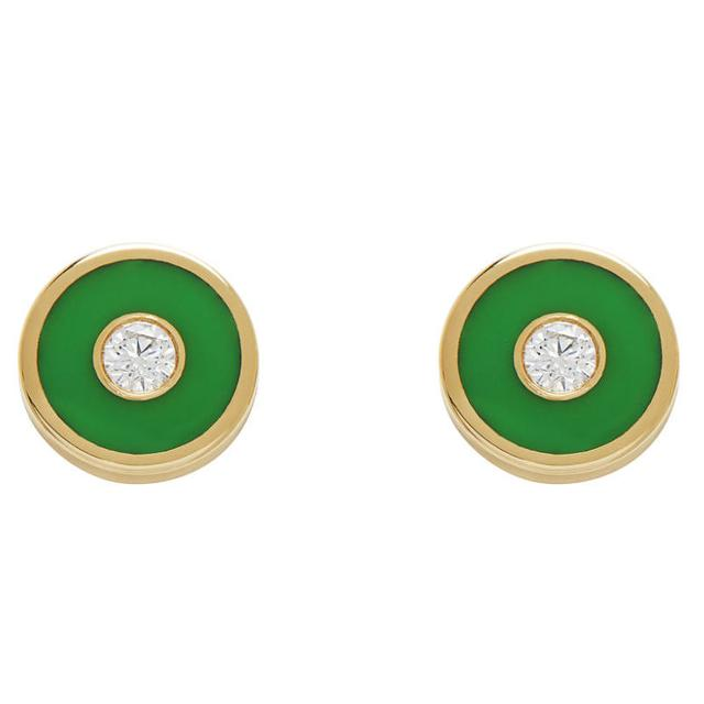 Swoonery-Enamel colord studs inlaid with a diamond