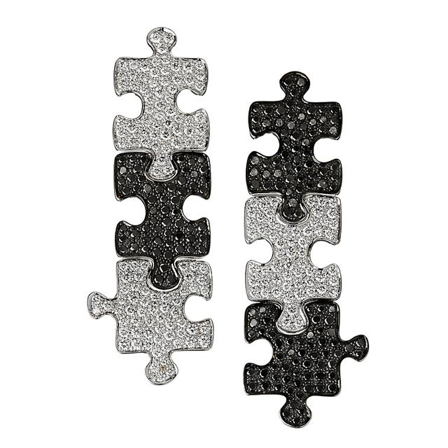 Swoonery-White Gold White Black Diamond Puzzle Earrings