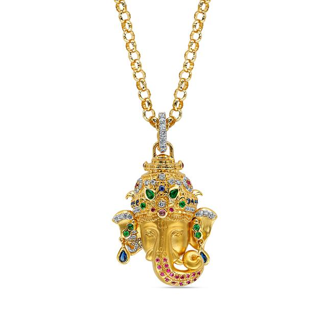 Swoonery-20K Small Ganesha Pendant Necklace