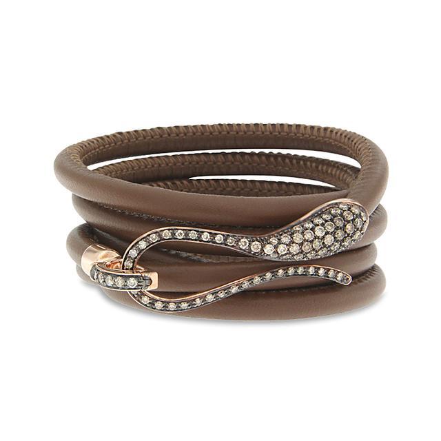 Swoonery-Burnished Rose Gold Elika Leather Bracelet