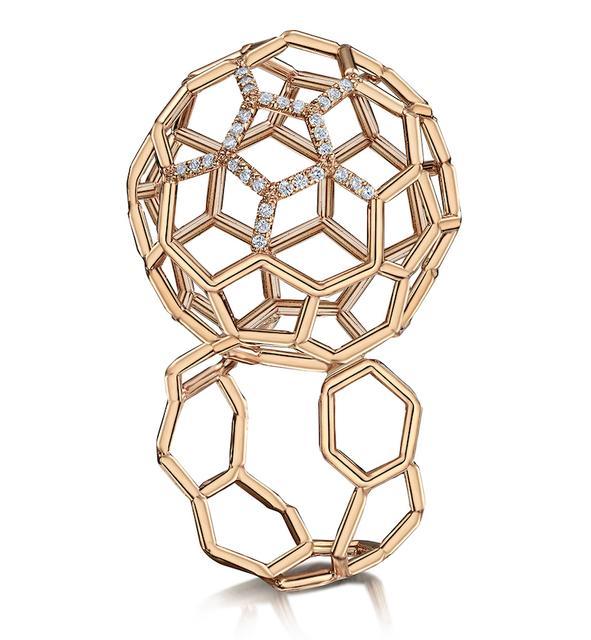 Swoonery-Air Sphere Diamond Rose Gold Ring