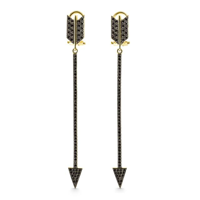 Swoonery-Eros Black Diamond Arrow Earrings