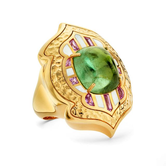 Swoonery-20K Lantern Hammered Green Tourmaline Ring