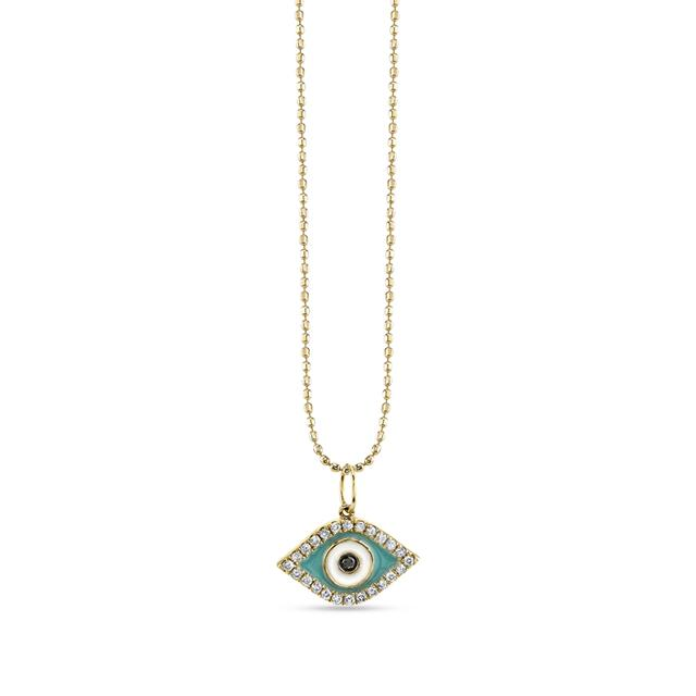 Swoonery-Small Turquoise Enamel Eye With Pave Border