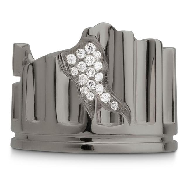 Swoonery-RHODIUM PLATED COLUMN FRAGMENT RING