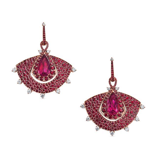 Swoonery-Out of Africa Ruby Fan Scarf Earrings