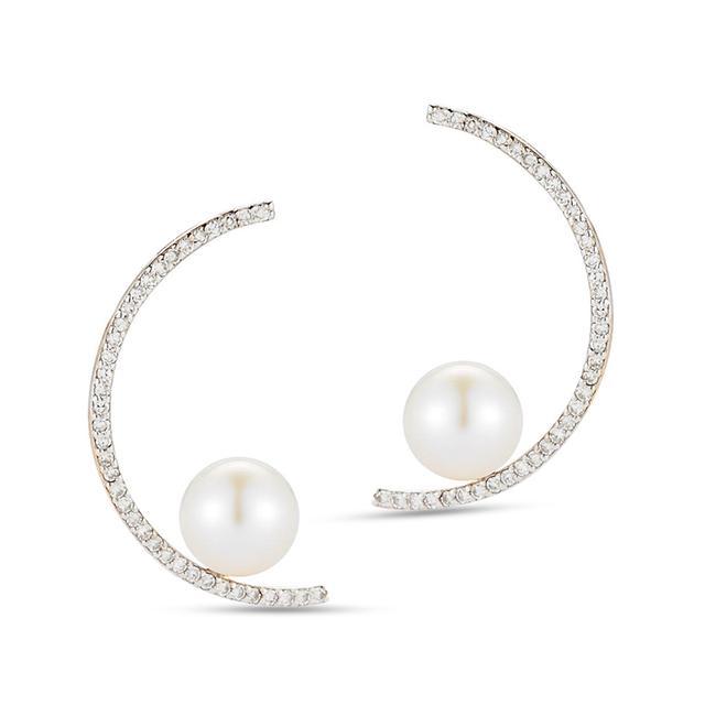 Swoonery-Diamond Half Moon Pearl Earring