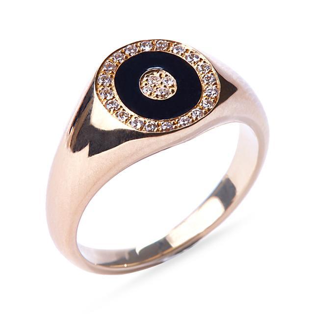 Swoonery-Black Enamel Douce Cavalcade Signet Ring