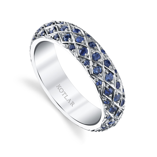 Swoonery-Criss Cross Sapphire Pave Band
