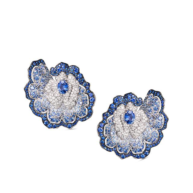 Swoonery-Enchanted Garden Earrings In Diamonds And Blue Sapphires