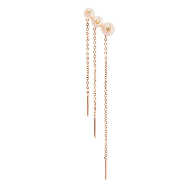 Swoonery-Menage a trois pink pearl chain earring