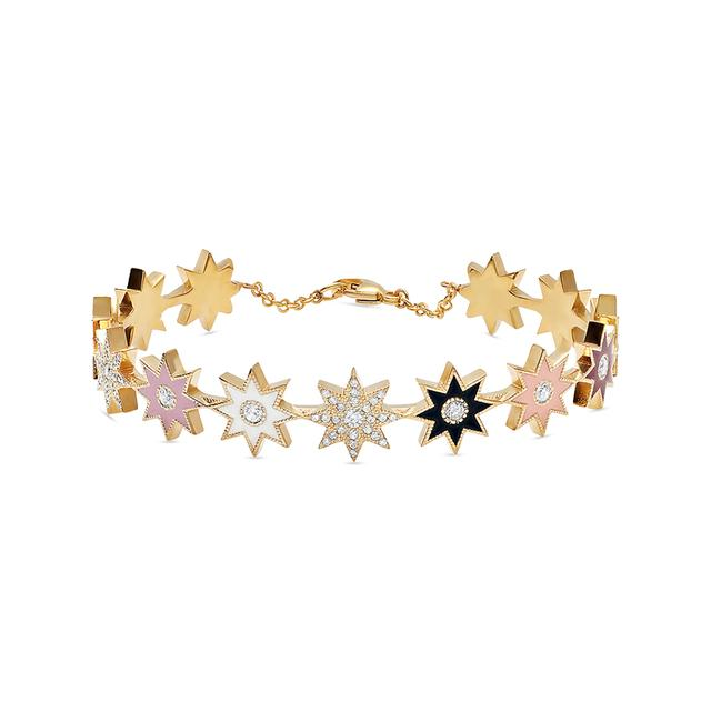 Swoonery-Muticolored Enamel Star Cuff