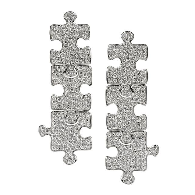 Swoonery-White Gold White Diamond Puzzle Earrings